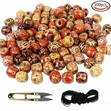 Large Wooden Beads Painted Pattern Barrel + Elastic Cord + Scissors 100pcs
