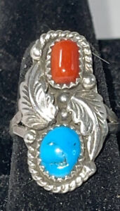 Vintage Native American Turquoise Red Coral Sterling Silver Ring  Size 5.5