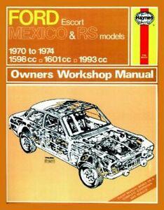 Manuale di Riparazione Istruzioni Ford Excort RS1600,RS2000 & Messico 1970 -