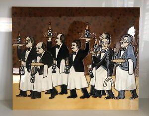 "Large Guy Buffet ""Flower Bottle Brigade"" Ceramic Tile Artwork 13"" x 16"""