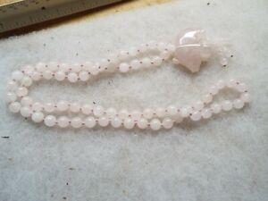 Carved Pink Jade Elephant Large Vintage Old Strand JADE Beads Necklace BEAUTY