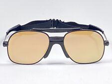 Vintage Zeiss Black Sports Oversized Flat Gold Lens 1970 West Germany Sunglasses