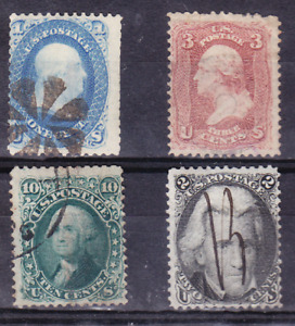 US Scott 63, 65, 68, 73 old 19th century stamps U/F-VF CV $180