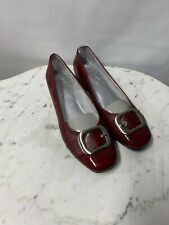 "Life Stride Womens Toni Red Buckle Loafer Shoes Heels 1"" Size 9 M Patent Leather"