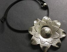 Suede choker Necklace With A large statement 60mm flower Pendant Boho