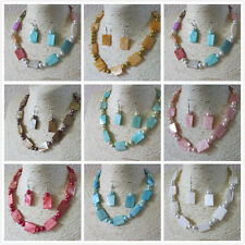 Mother of Pearl Beaded Necklace & Matching Earrings Set Many Colours UK Seller