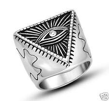 Illuminati The All-seeing-eye illunati pyramid/eye symbol Stainless Steel Ring