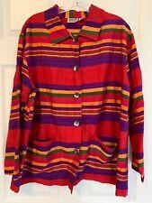 Vintage Women's Chicos Design Size 3 Silk Striped Top Jacket Pockets