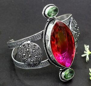 "925 Sterling Silver Tourmaline & Amethyst Gemstone Jewelry Cuff Bracelet S-7-8"""