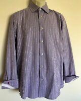 Robert Graham Men's Flip Cuff Long Sleeve Button Front Shirt 39-15 1/2 Medium