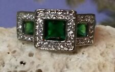 Lab Created Princess cut Emeralds and Cz Ring - Size 7