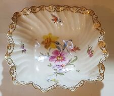 Ernst Wahliss vintage Victorian antique square shallow flower design dish