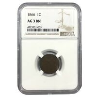 1866 United States Indian Head Cent - NGC AG 3 BN