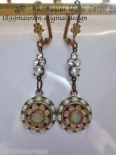 Pendientes de Perla Cristal delicada eduardiana gota Art Nouveau Art Deco Vintage
