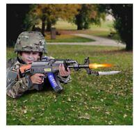 Light Up Machine Gun Military Toy Rifle Kids Moving Barrel LED Tommy Pistol