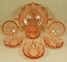 Kompottschalenset Dessertschalen Schüssel Pressglas 7tlg. zartes Rose` Art Deco