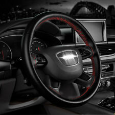 Car Truck PU Leather Steering Wheel Cover With Needles and Thread DIY Red F FZ