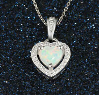 "Womens Opal and 925 Sterling Silver Heart Of Love 30"" Chain Link Necklace D681B"