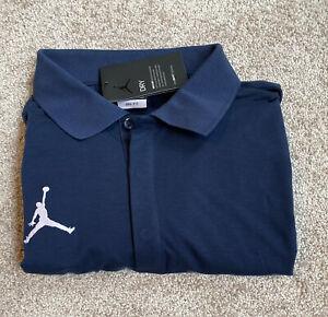 Mens Size Large Air Jordan Nike Dri-Fit Polo Premium Shirt Blue CD2216-419