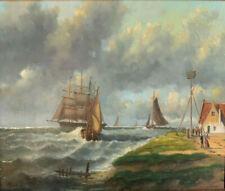 Ölgemälde KÜSTENLANDSCHAFT SCHIFFE - niederländischer Maler um 1900 signiert