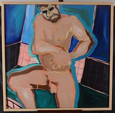 "Leslie Donald Poole 31x31"" Original Painting Male Nude Impressonist Canadian"