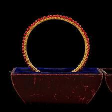 Antique Vintage Nouveau Gold Filled GF Mediterranean Red Coral Bangle Bracelet