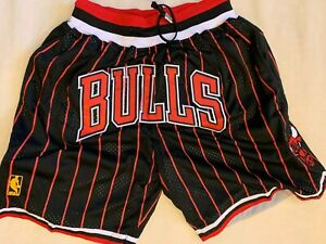 Chicago Bulls Just Don Black Red Pinstripe Mens Team Summer Basketball Shorts