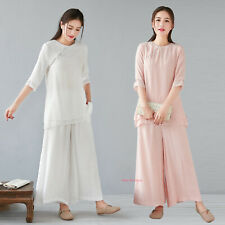 Women's Cotton Linen Yoga Tai Chi Sets Loose Uniform Martial Arts Kung Suit