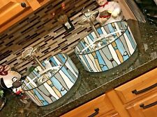 2 Tiffany Style Hanging Ceiling Lamp Fixture Cut Stained W GEMS Glass Shade