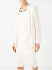Jacques Vert Women's White Long Line Blazer and Asymmetrical Skirt Suit