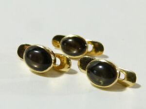 3 x Antique 18K 18ct Yellow Gold Black Star Sapphire Buttons / Collar Studs #S45