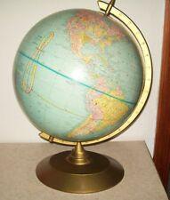 "vintage World globe Crams Imperial 12"" George F. Cram Co. stand frame"
