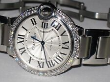 Womens Cartier Ballon Bleu Midsize 36mm Diamonds Everywhere Automatic