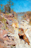 Fires On by Arthur Streeton A1 High Quality Art Print