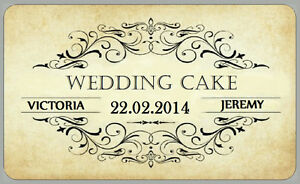Vintage Style Wedding Cake Stickers Personalised Labels for Favour Boxes, Bags