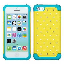 IPHONE 5C / LITE Hybrid Cover Teal Silicone Case Lattice Studded Yellow Bling