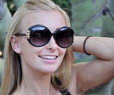 VALLEY GIRL Oversized Boho Vintage 80's Style Sunglasses - Black