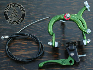 Green Fixie MX Lever ALLOY Front Brake Caliper Cable Fixed Gear Bicycle RoadBike