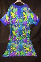 "DIANE GILMAN 100% Silk Multi-Color""Jungle Leaf""Sequined Dress Womens Size XL-B77"