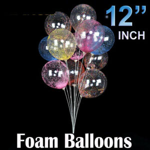 12' inch CLEAR FOAM FILLED BALLOONS Helium High Quality Party Birthday Wedding