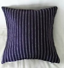 Vibrant blue purple White Striped Nautical medium heavy cushion covers16'' 40 BN