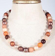 Braun Beige Orange Kunststoff Perlen Kette kurze Halskette kurz Collier 50 cm