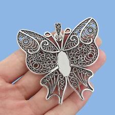 2x Tibetan Silver Butterfly Pendant Trays Blank Bezel 22x10mm Cabochon Setting