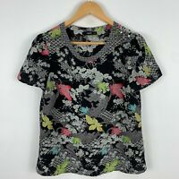 Oasis Womens Top 12 Multicoloured Floral Short Sleeve Round Neck Zip Closure