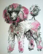Pink poodle painting dog art,wall decor, unique dog lover gift,pet portrait