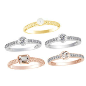 2.10ct Morganite May Birthstone & Zircon 14k Yellow White & Rose Gold 5 Ring Set