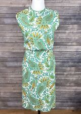 Vtg 50s 60s Dress SMALL 2 4 Paisley Print  Metal Zipper  Lined Housewife Costume