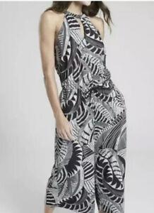 Athleta Wide Leg Jumper Women's Size 10 Sol Zuma Print Pockets Elastic Tie Waist