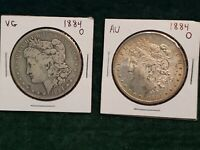 LOT OF 2 1884 O NEW ORLEANS MORGAN SILVER DOLLAR NICE COINS
