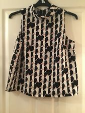 Black/Cream/Beige Heart Pattern High Neck No Sleeve Top Topshop Size 14